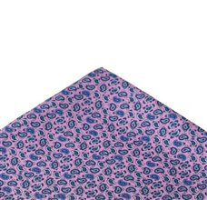 Pink pocket square with blue Paisley
