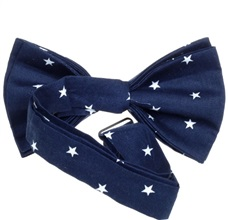 Deep blue bow tie reverse with white stars