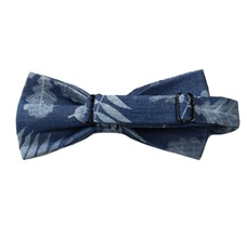 Reverse blue jeans bow tie with tree leaf