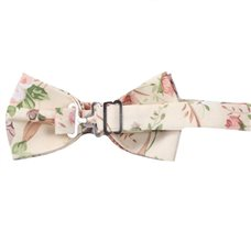 Reverse beige bow tie with flowers