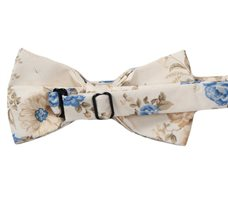 Reverse beige bow tie with blue and camel flowers