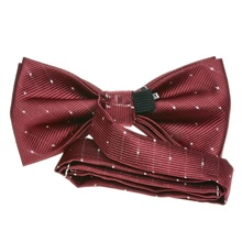 Bordeaux bow tie with silver dots reverse