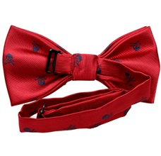 Reverse garnet bow tie with skulls