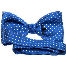 Royal blue silk bow tie with dots reverse