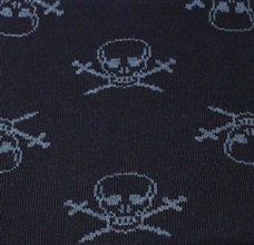 Dark blue scarf with skulls woven