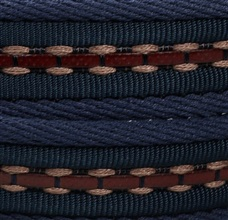 Navy braided leather belt fabric