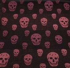 Bordeaux foulard with black skulls woven