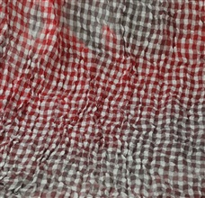 Red checked foulard woven