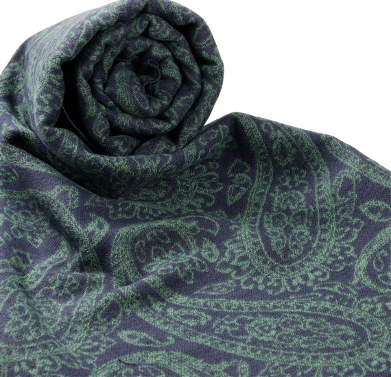Dark Blue Scarf with Green Paisley