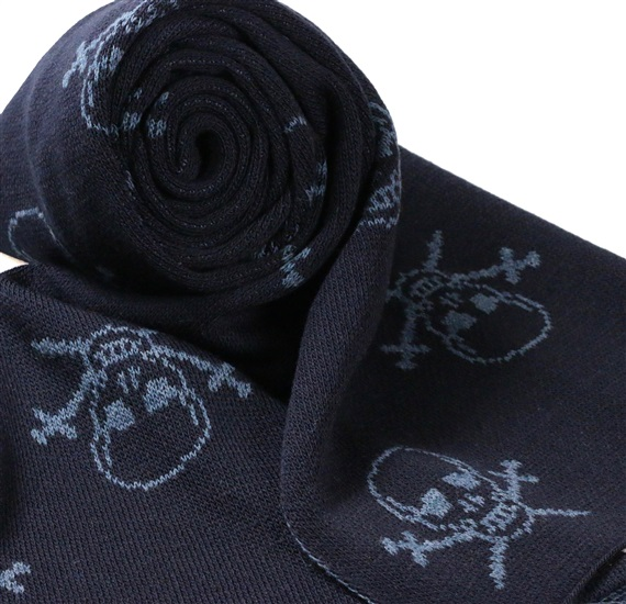 Dark Blue Scarf with Sky Blue Skulls