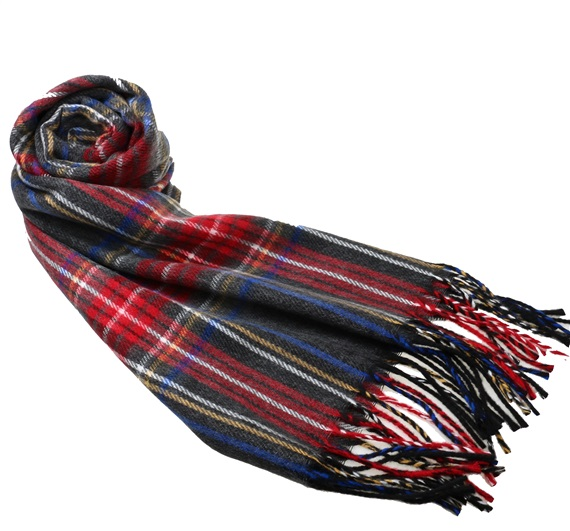 Grey and Red Tartan Scarf