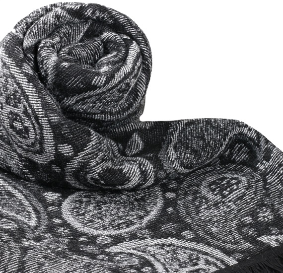 Black Scarf with Grey Paisley