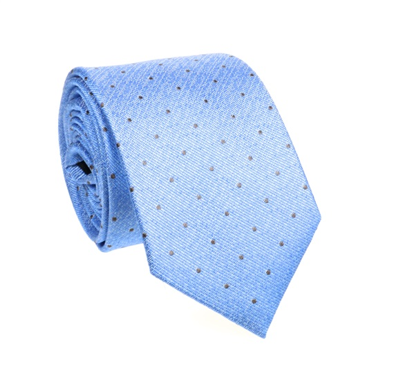 Blue Natural Silk Tie with Brown Dots