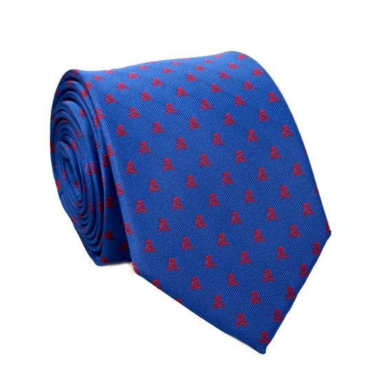 Royal Blue Tie with Red Skulls
