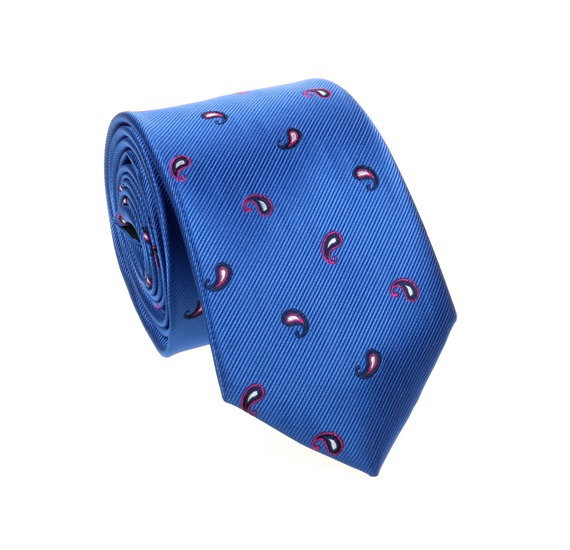 Royal Blue Tie with Fuchsia and Black Paisley