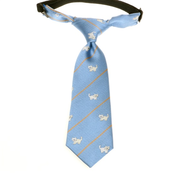 Sky Blue Baby's Tie with White Cats