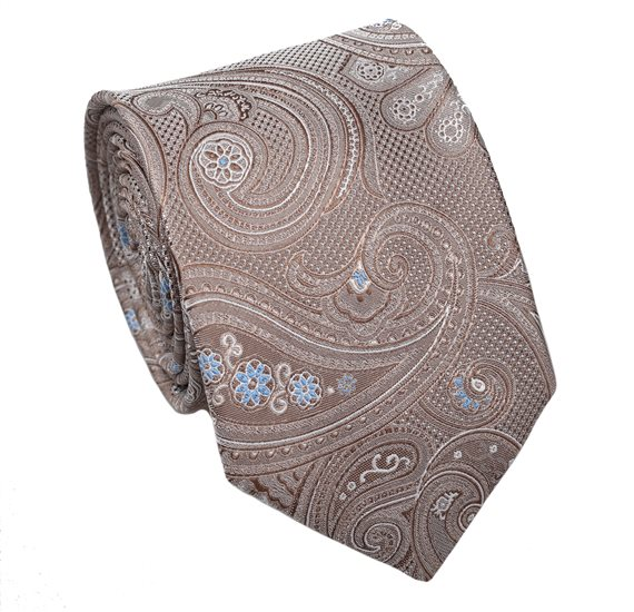 Beige Tie with Paisley Design