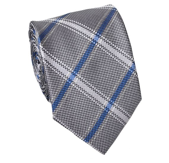 Grey and Blue Teenager's Tie with Tartan