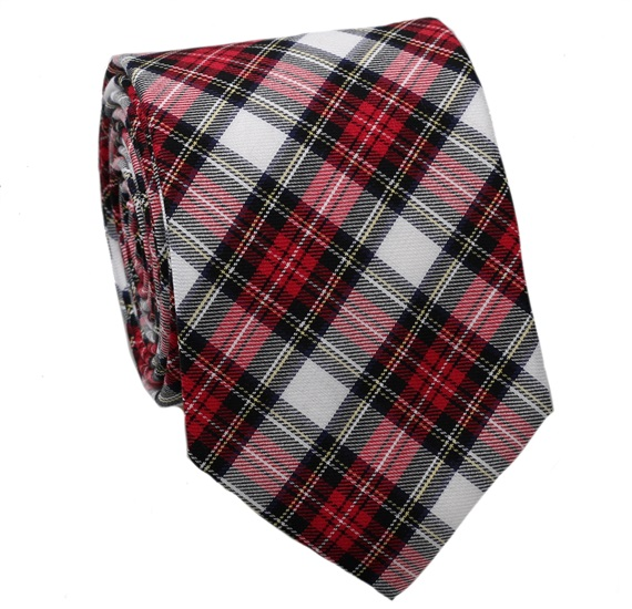 Black and Red Tartan Tie