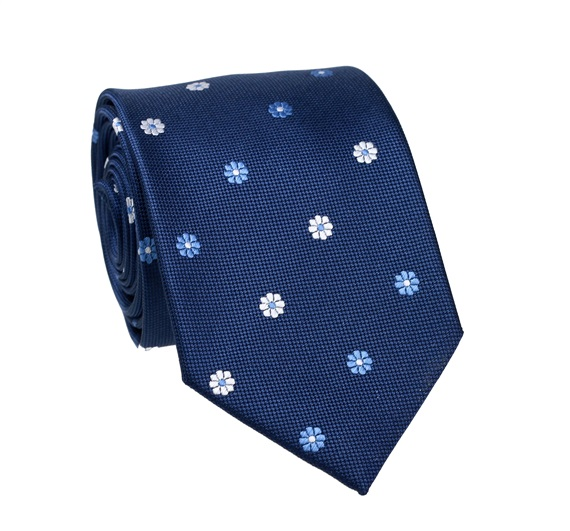 Navy Blue Flowers Tie