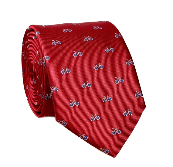 Garnet Tie with Blue Bicycles