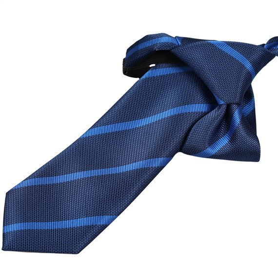 Blue Boy's Tie with Green Stripes