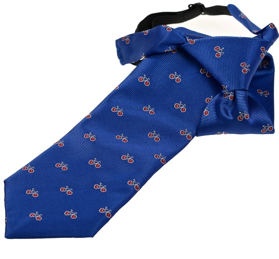 Royal Blue Boy's Tie with Red Bikes