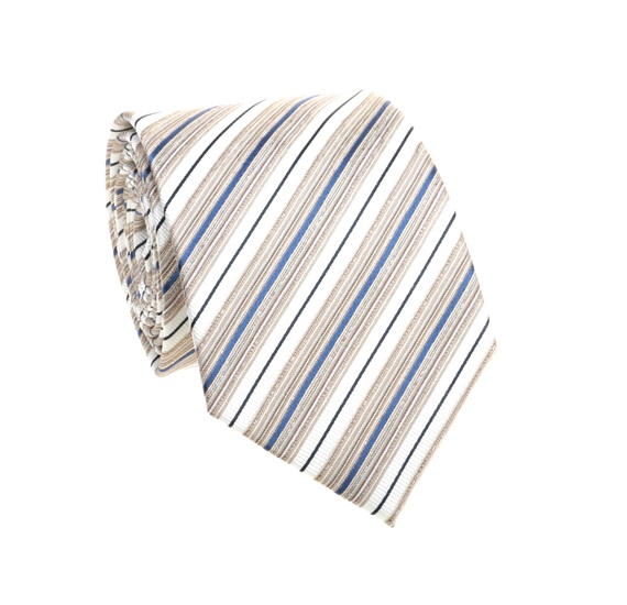 Sand and Blue Striped Tie