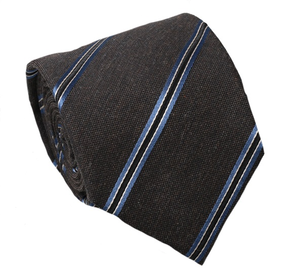 Blue and Brown Striped Wool Tie