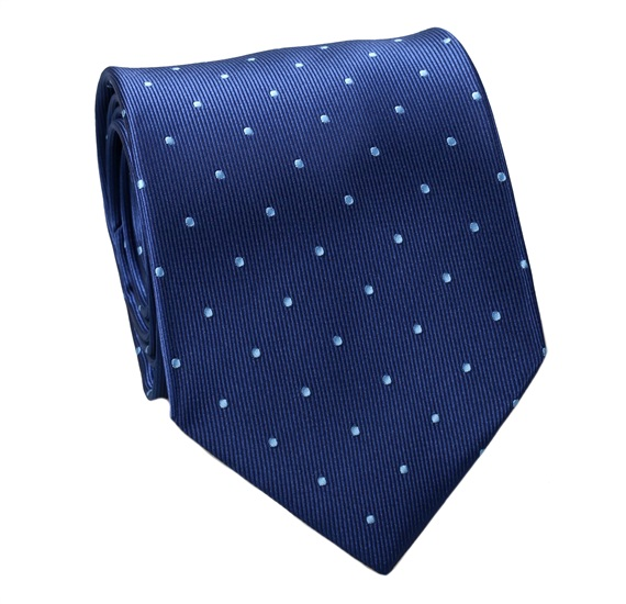 Blue Natural Silk Tie with Sky Blue Dots