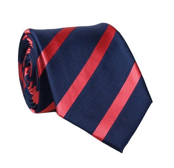 Dark Blue Natural Silk Tie with Coral Stripes