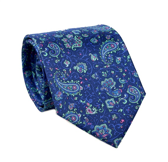 79fccd88 Corbata y Pañuelo Cachemir Azul Marino de Seda Natural