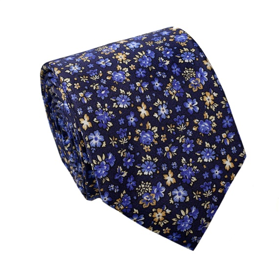 Blue Flowers Silk Tie and Pocket Square