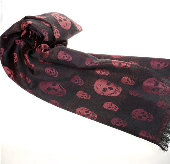 Bordeaux Foulard with Black Skulls
