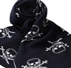 Dark Blue Scarf with White Skulls