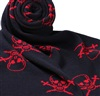 Dark Blue Scarf with Red Skull