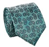 Green Turquoise Paisley Natural Silk Tie