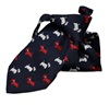 Dark Blue Boy's Tie with Dogs