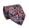 Dark Blue Paisley Natural Silk Tie and Pocket Square