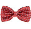 Coral Red Bow Tie with Blue Daisies