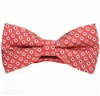 Coral Red Bow Tie with White Daisies