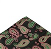 Green Pocket Square with Pink Paisley