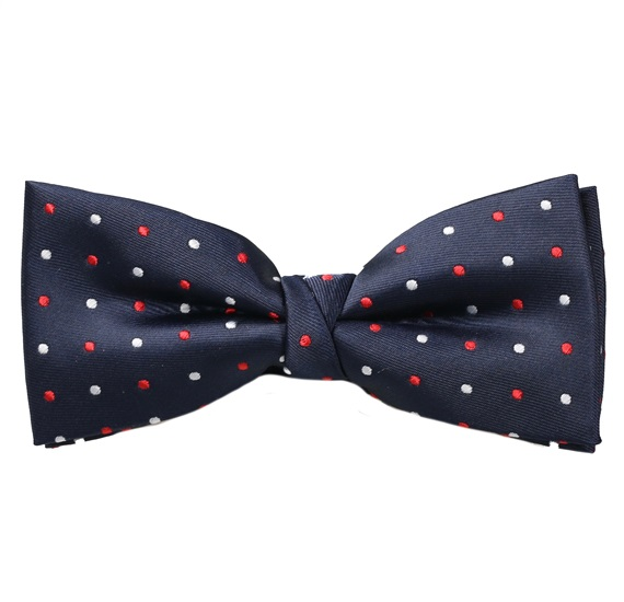 Dark Blue Bow Tie with White and Red Dots