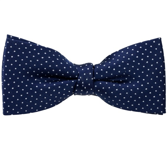 Dark Blue Bow Tie with Dots