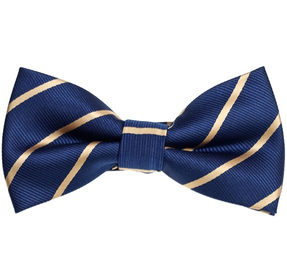 Blue Bow Tie with Gold Stripes