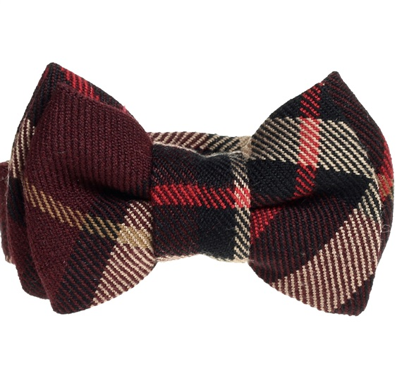 Brown Checked Baby's Bow Tie