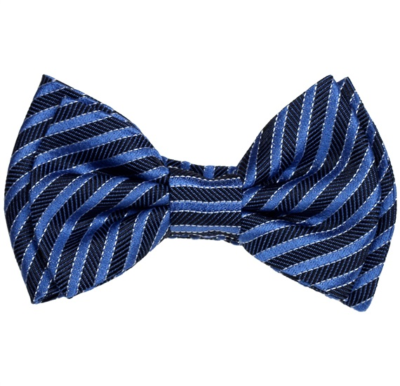 Silk Baby's Bow Tie with Blue Stripes