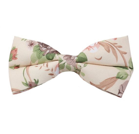 Beige Bow Tie with Flowers