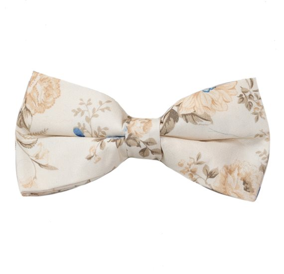 Beige Bow Tie with Camel and Blue Flowers
