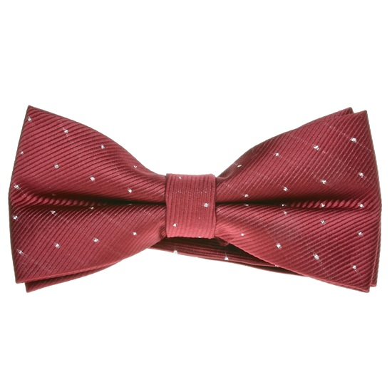 Bordeaux Bow Tie with Silver Dots